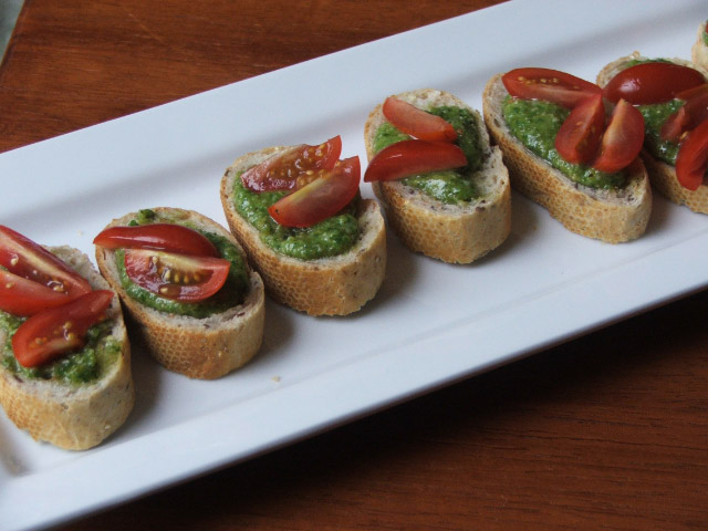 Chef Julie Korhumel's Basil Pesto and Tomato Whole Wheat Crostini