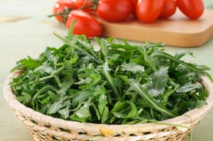 Plant Power Arugula Salad With Garlic Tomato Vinaigrette