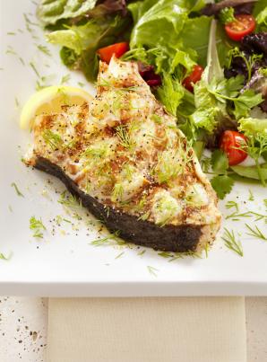 Grilled Halibut with Mediterranean Salsa