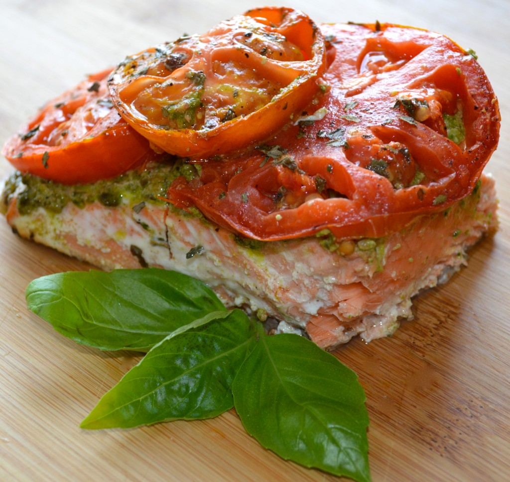 Mediterranean Recipe of Roasted Tomato Walnut Pesto Salmon