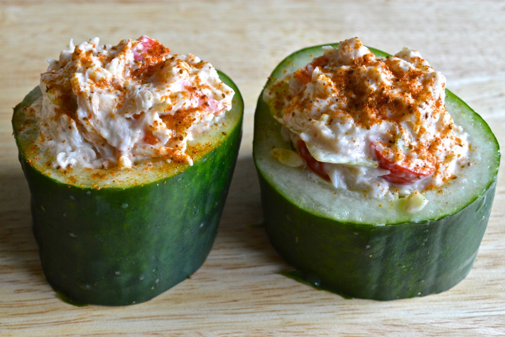 Low cholesterol Crabmeat Salad Stuffed in Cucumber Cups