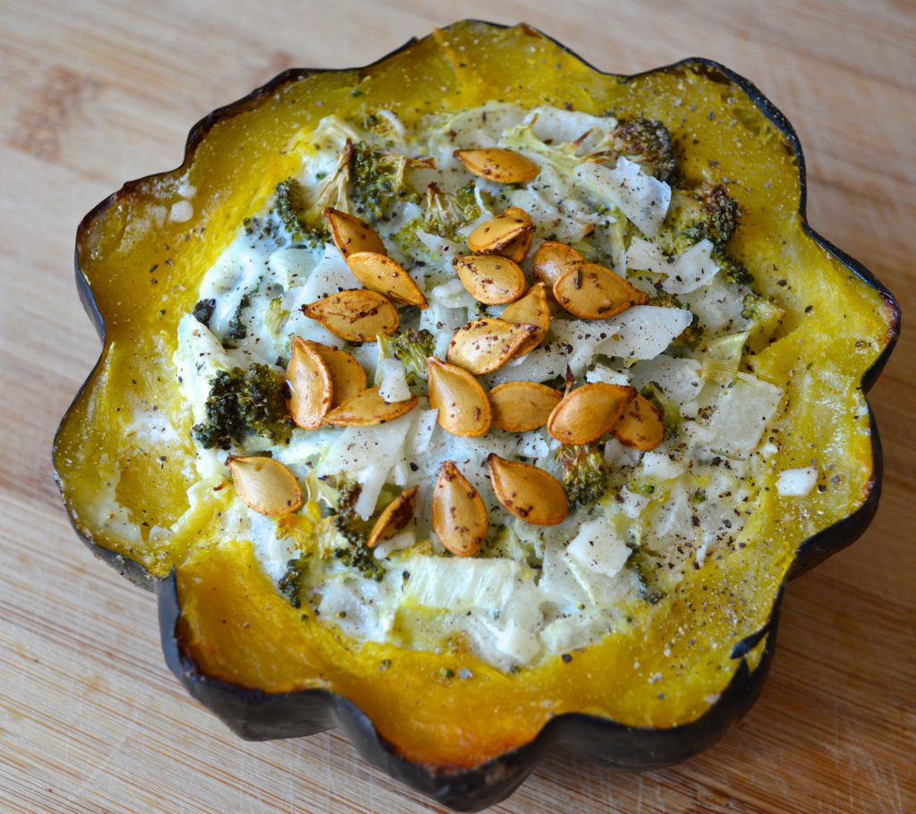 low cholesterol recipe of Baked Acorn Squash Broccoli Quiche