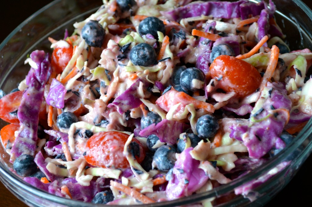 July 4th Zero Cholesterol Recipe of Red White And Blueberry Coleslaw