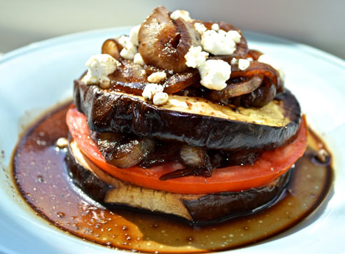 Roasted Eggplant Tomato Stack